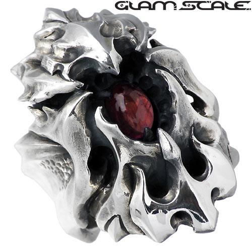 GLAM SCALE【グラムスケイル】 ストーン シルバー リング ガーネット 15~23号 指輪 アクセサリー シルバー925 スターリングシルバー GS-DR-009GN