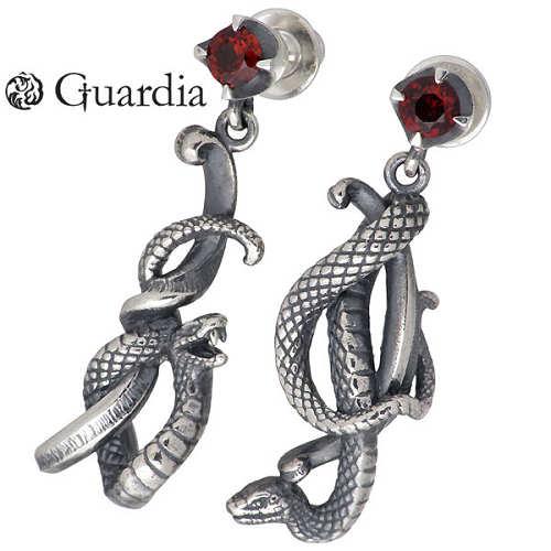Guardia【ガルディア】 Medusiana 蛇 シルバー ピアス アクセサリー ガーネット 2個売り 両耳用 シルバー925 スターリングシルバー ATPI-005GN-P