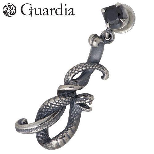 Guardia【ガルディア】 Medusiana 蛇 シルバー ピアス ブラックキュービック 1個売り 右耳用 シルバーアクセサリー シルバー925 ATPI-005R-BZ
