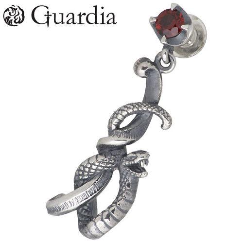 Guardia【ガルディア】 Medusiana 蛇 シルバー ピアス ガーネット 1個売り 右耳用 シルバーアクセサリー シルバー925 ATPI-005R-GN