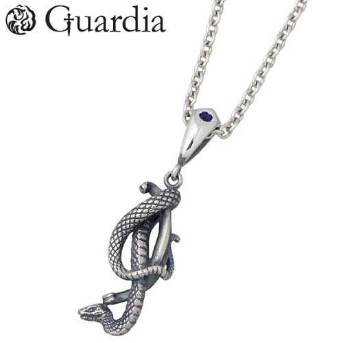 Guardia【ガルディア】 Medusiana メドゥシアナ シルバー ネックレス アイオライト 蛇 メンズ シルバーアクセサリー シルバー925 ATPN-026LIOLCL6