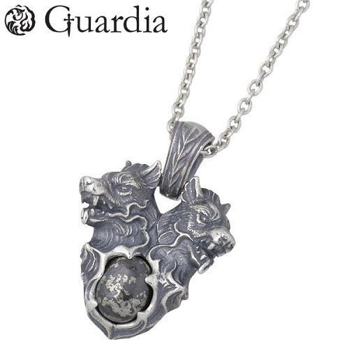 Guardia【ガルディア】 Orthros オルトロス シルバー ネックレス ブラックパイライト 犬 メンズ シルバーアクセサリー シルバー925 ATPN-027BPRCL60