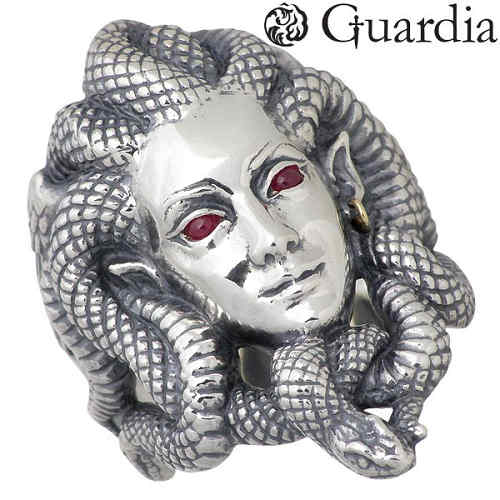 Guardia【ガルディア】 Medusa メドゥーサ シルバー リング ルビー K18 蛇 指輪 アクセサリー 11~30号 シルバー925 スターリングシルバー ATR-001