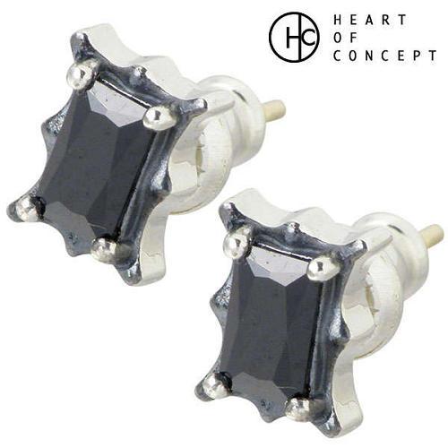 HEART OF CONCEPT【ハートオブコンセプト】 ストーン シルバー ピアス ブラック キュービック 2個売り 両耳用 スタッドタイプ シルバーアクセサリー シルバー925 HCE-23BKCZ-P