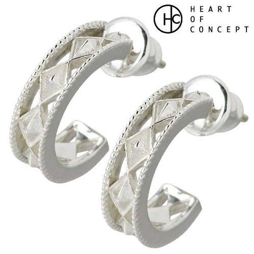HEART OF CONCEPT【ハートオブコンセプト】 デザイン シルバー ピアス アクセサリー 2個売り 両耳用 フープ型スタッドタイプ シルバー925 スターリングシルバー HCE-33-P