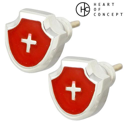 HEART OF CONCEPT【ハートオブコンセプト】 クロスデザイン シルバー ピアス アクセサリー 2個売り 両耳用 スタッドタイプ シルバー925 スターリングシルバー HCE-44RD-P