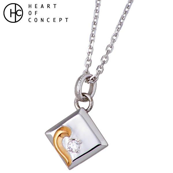 HEART OF CONCEPT【ハートオブコンセプト】スクエア ハート シルバー ネックレス レディース キュービック HCP-350L