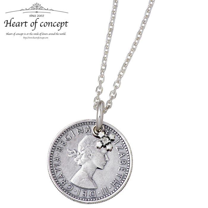 HEART OF CONCEPT【ハートオブコンセプト】 シックスペンス コイン シルバー ネックレス アクセサリー メンズ レディース 誕生石 ダイヤモンド HCP-362DA