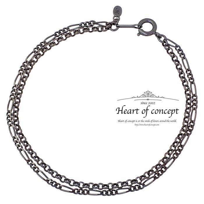 HEART OF CONCEPT【ハートオブコンセプト】 シルバー ブレスレット アクセサリー ドレープ チェーン メンズ ブラック HCB-102BK