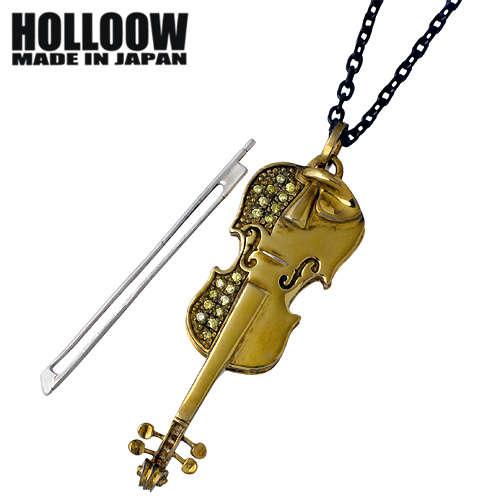 HOLLOOW【ホロウ】 バイオリン シルバー ネックレス アクセサリー チェーン付き キュービック ゴールドコーティング シルバー925 スターリングシルバー KHP-115GD