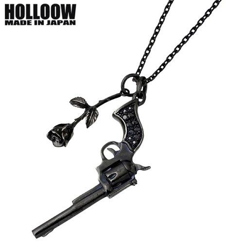 HOLLOOW【ホロウ】 ガンローズ シルバー ネックレス チェーン付き キュービック カラーコーティング バラ 薔薇 銃 シルバーアクセサリー シルバー925 KHP-116