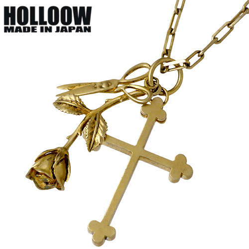 HOLLOOW【ホロウ】 トリニティー シルバー ネックレス アクセサリー チェーン付き ゴールドコーティング ローズ バラ 薔薇 銃 クロス 十字架 シルバー925 スターリングシルバー KHP-117GD