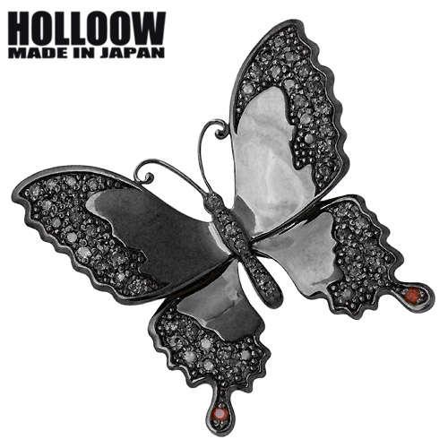 HOLLOOW【ホロウ】 バタフライ シルバー ブローチ キュービック ブラックコーティング 蝶 シルバー925 スターリングシルバー KHP-120BK