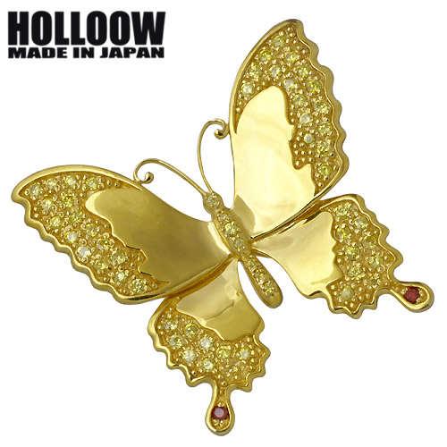 HOLLOOW【ホロウ】 バタフライ シルバー ブローチ キュービック ゴールドコーティング 蝶 シルバー925 スターリングシルバー KHP-120GD