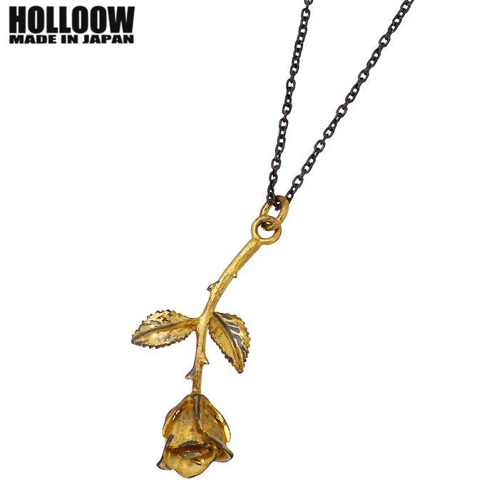 HOLLOOW【ホロウ】 ローズ シルバー ネックレス チェーン付き ゴールドコーティング キュービック バラ 薔薇 シルバーアクセサリー シルバー925 KHP-135GD