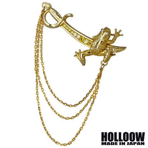 HOLLOOW【ホロウ】 フロッグ ナイフ シルバー ブローチ ゴールドコーティング キュービック カエル 蛙 剣 シルバー925 スターリングシルバー KHP-160GD