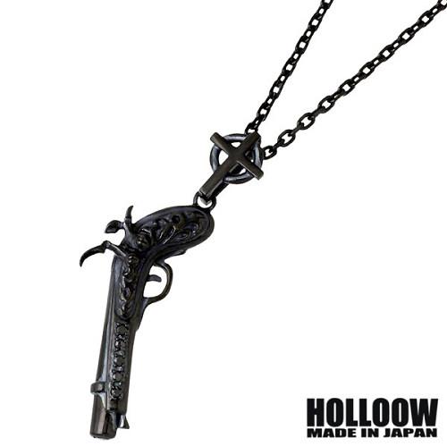 HOLLOOW【ホロウ】 オールドガン シルバー ネックレス アクセサリー チェーン付き ブラックコーティング 銃 クロス 十字架 シルバー925 スターリングシルバー KHP-282BK