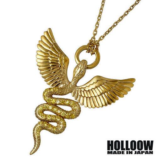 HOLLOOW【ホロウ】 ヒース ゴッド シルバー ネックレス アクセサリー チェーン付き ゴールドコーティング キュービック ヘビ 蛇 ウィング 翼 シルバー925 スターリングシルバー KHP-285GD