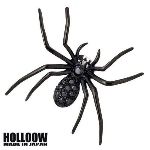 HOLLOOW【ホロウ】 ラージスパイダー シルバー ブローチ キュービック ブラックコーティング クモ 蜘蛛 ピン ブローチ シルバー925 スターリングシルバー KHP-59