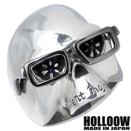 HOLLOOW【ホロウ】 ヴィンセント シルバー リング サファイア スカル ドクロ 髑髏 10~25号 指輪 アクセサリー シルバー925 スターリングシルバー KHR-09