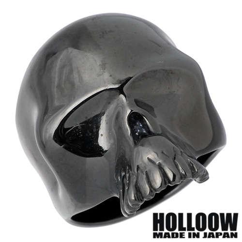 HOLLOOW【ホロウ】 アイレス シルバー リング ブラックコーティング キュービック スカル ドクロ 髑髏 10~25号 指輪 シルバーアクセサリー シルバー925 KHR-31BK