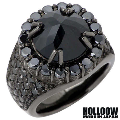 HOLLOOW【ホロウ】 レクイエム シルバー リング ブラックコーティング キュービック 10~25号 指輪 アクセサリー シルバー925 スターリングシルバー KHR-49BK