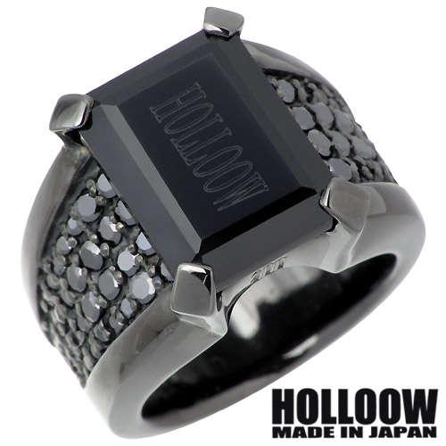 HOLLOOW【ホロウ】 マニフェスト シルバー リング ブラックコーティング オニキス キュービック 10~25号 指輪 シルバーアクセサリー シルバー925 KHR-55BK
