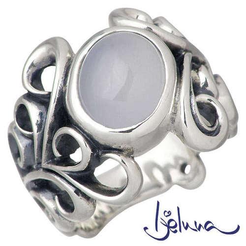 Ijeluna【アイジェルナ】 アラベスクフレア 8x10mmブルーカルセドニーシルバーリング 指輪 7~17号 シルバーアクセサリー シルバー925 IJ-062RS-BLUE