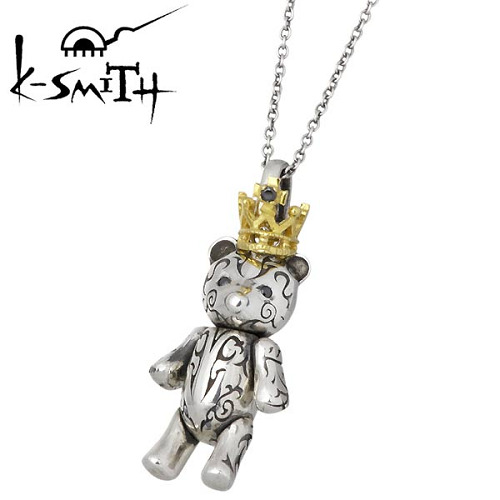 K-SMITH【ケースミス】 Tatoo Bear S シルバー ネックレス ブラックキュービック レディースペンダント テディベア アクセ 王冠 シルバーアクセサリー シルバー925 KI-1279804