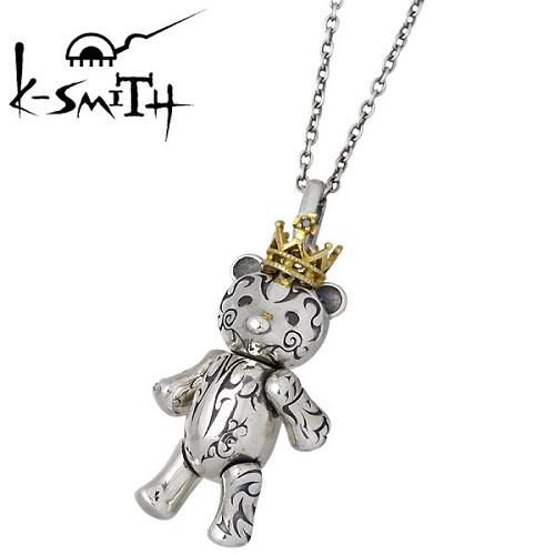 K-SMITH【ケースミス】 Tatoo Bear L シルバー ネックレス ブラックキュービック メンズペンダント テディベア アクセ 王冠 シルバーアクセサリー シルバー925 KI-1281432