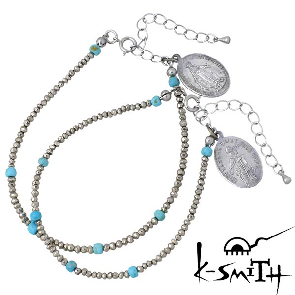 K-SMITH【ケースミス】 パイライト ブレスレット アクセサリー メダイ ターコイズ ペア KI-PLTQ-B-L-M-P
