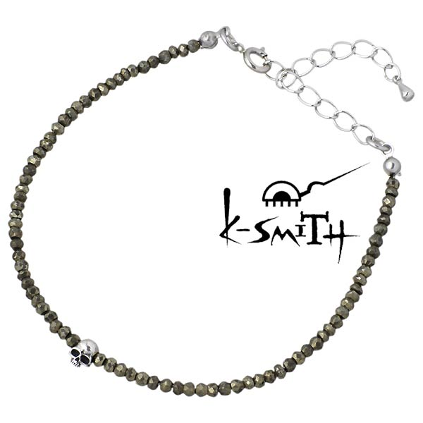 K-SMITH【ケースミス】 パイライト ブレスレット スカル メンズ シルバーアクセサリー シルバー925 KI-PSK-B-M