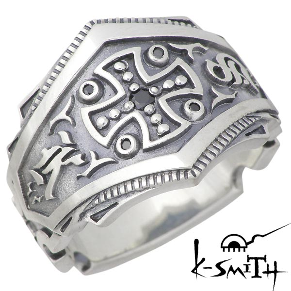 K-SMITH【ケースミス】 王冠 シルバー リング ブラックキュービック クロス 指輪 アクセサリー 9~25号 シルバー925 スターリングシルバー KM-001-SVB-BCZ