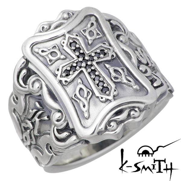 K-SMITH【ケースミス】 クロス シルバー リング ブラックキュービック 十字架 指輪 9~25号 シルバーアクセサリー シルバー925 KM-019-BCZ