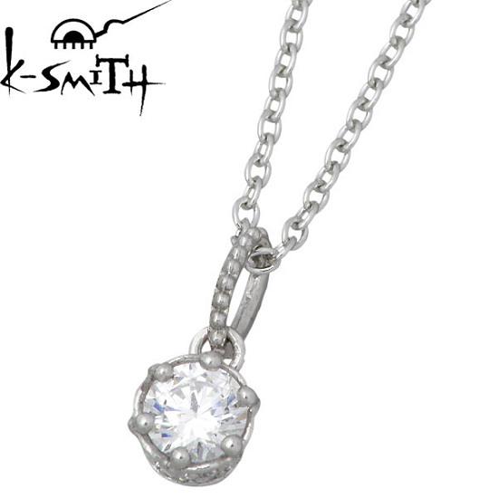 ケースミス K-SMITH クラウン シルバー ネックレス アクセサリー キュービック 一粒石 シルバー925 スターリングシルバー KS-00170