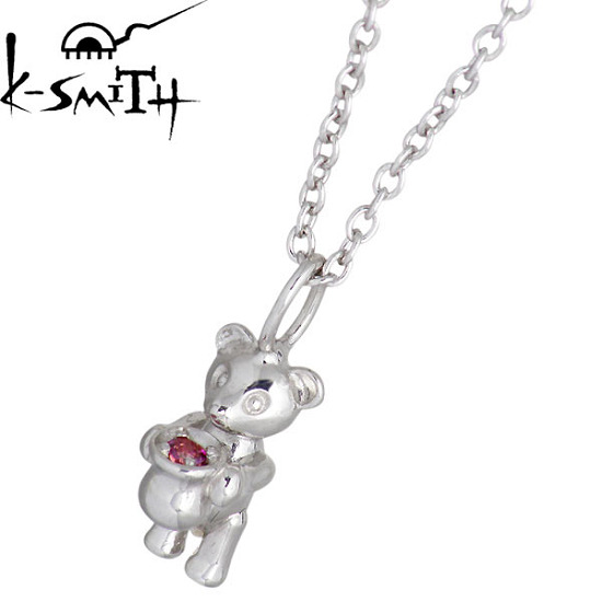 K-SMITH【ケースミス】 Birthday Bear シルバー ネックレス 1月 ガーネットカラーキュービック 誕生石 シルバーアクセサリー シルバー925 KSM-0031-1