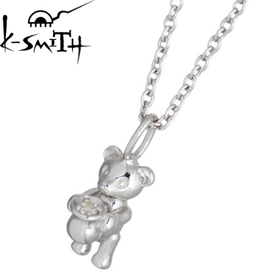 K-SMITH【ケースミス】 Birthday Bear シルバー ネックレス 4月 キュービック 誕生石 シルバーアクセサリー シルバー925 KSM-0031-4