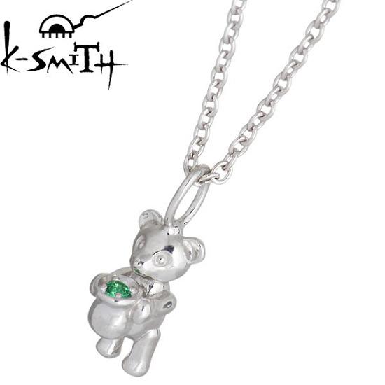 K-SMITH【ケースミス】 Birthday Bear シルバー ネックレス アクセサリー 5月 エメラルドカラーキュービック 誕生石 シルバー925 スターリングシルバー KSM-0031-5