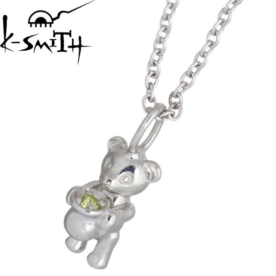 K-SMITH【ケースミス】 Birthday Bear シルバー ネックレス 8月 ペリドットカラーキュービック 誕生石 シルバーアクセサリー シルバー925 KSM-0031-8