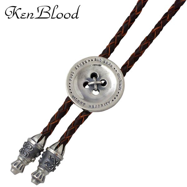 KEN BLOOD【ケンブラッド】 ボタン シルバー ブラウンレザー ループタイ ネックレス アクセサリー シルバー925 スターリングシルバー KB-KP-310BR