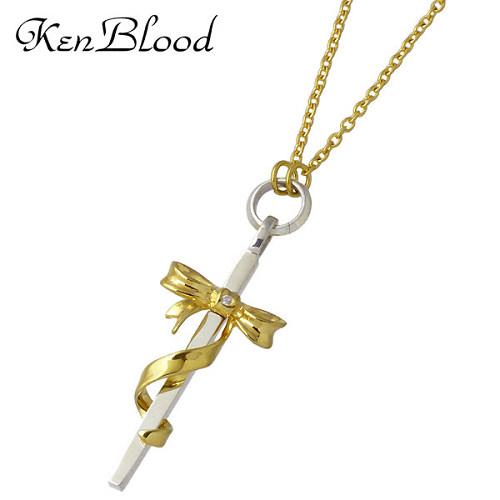 KEN BLOOD【ケンブラッド】 クロス & リボン シルバー ネックレス ダイヤモンド ゴールド シルバーアクセサリー シルバー925 KB-KP-324GD
