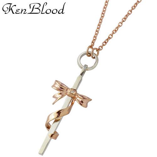 KEN BLOOD【ケンブラッド】 クロス & リボン シルバー ネックレス アクセサリー ダイヤモンド ピンク シルバー925 スターリングシルバー KB-KP-324PK
