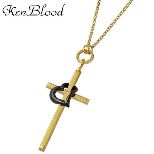 KEN BLOOD【ケンブラッド】 クロス & ハート シルバー ネックレス ダイヤモンド ゴールドカラーXブラック シルバーアクセサリー シルバー925 KB-KP-325GD