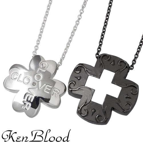 KEN BLOOD【ケンブラッド】 クローバー クロス シルバー ネックレス BK シルバーアクセサリー シルバー925 KB-KP-55