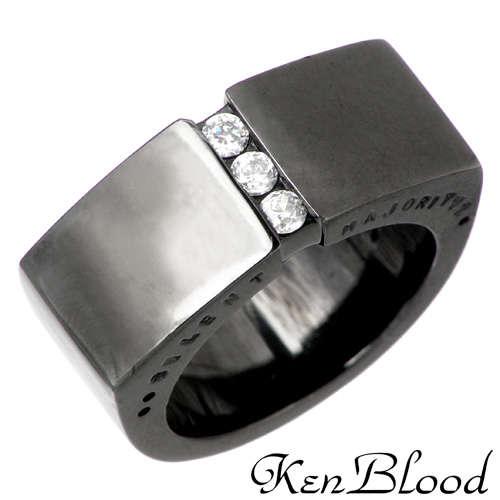 ケンブラッド KEN BLOOD キュービック シルバー リング ブラック 7号~23号 指輪 アクセサリー CZ シルバー925 スターリングシルバー KB-KR-140BK
