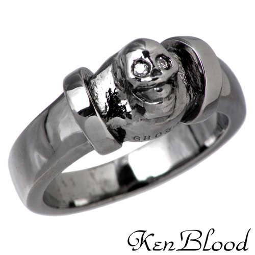 KEN BLOOD【ケンブラッド】 GHOST スカル シルバー リング ブラック キュービック 7号~23号 指輪 アクセサリー BK CZ シルバー925 スターリングシルバー KB-KR-153BK