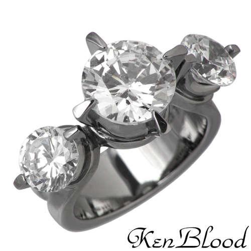 KEN BLOOD【ケンブラッド】 3キュービック シルバー リング ブラック キュービック 7号~23号 指輪 アクセサリー CZ シルバー925 スターリングシルバー KB-KR-159BK