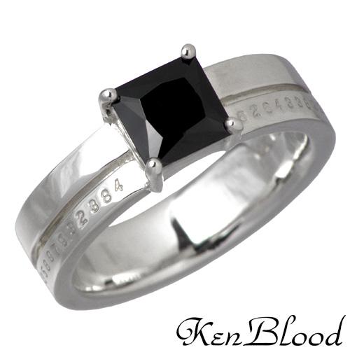 KEN BLOOD【ケンブラッド】 スクエア キュービック シルバー リング ブラック 7号~23号 指輪 BKCZ シルバーアクセサリー シルバー925 KB-KR-160SV