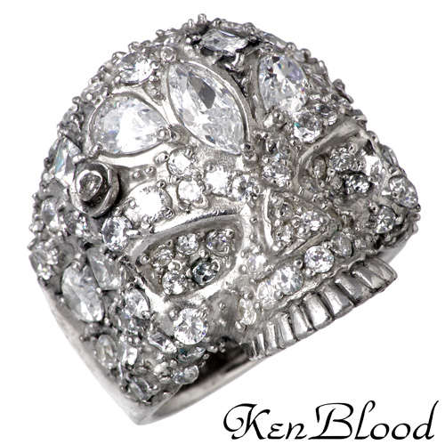KEN BLOOD【ケンブラッド】 スカル シルバー リング キュービック 13号~27号 指輪 アクセサリー CZ シルバー925 スターリングシルバー KB-KR-204SV