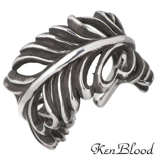 KEN BLOOD【ケンブラッド】 フェザー ハート シルバー リング 羽 指輪 アクセサリー シルバー925 スターリングシルバー KB-KR-215